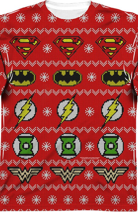 justice league sublimated ugly faux christmas sweater long sleeve tee popcult wear