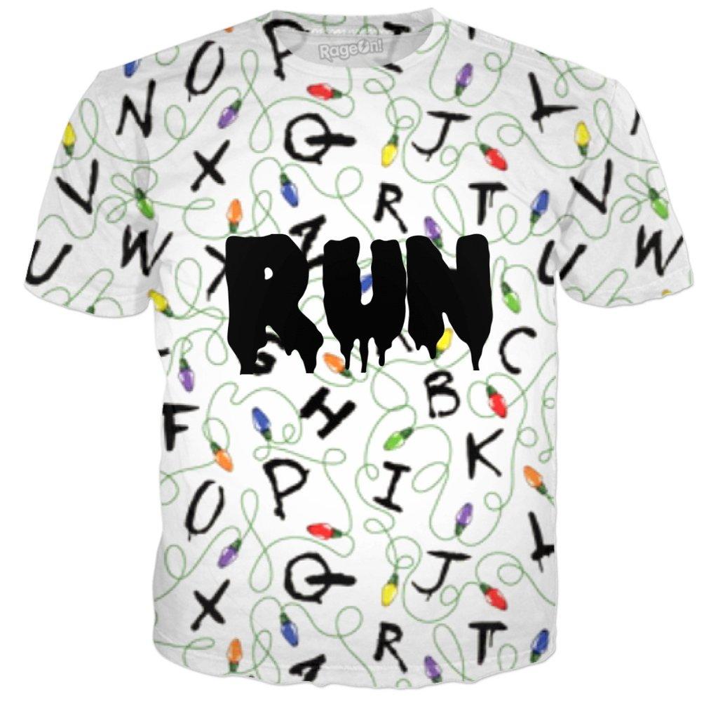 Stranger Things Christmas Lights RUN T-Shirt - PopCult Wear