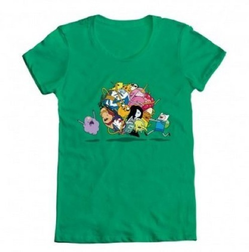 Adventure Time Group Roll T shirt Green