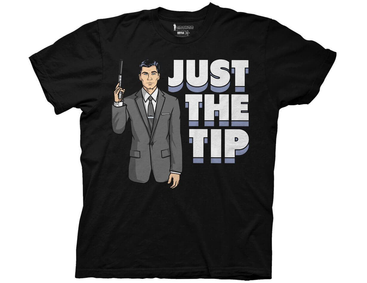 Archer Just The Tip Adult Black T shirt