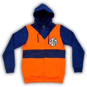 Dragon Ball Z Goku Symbol Costume Zip Up Hoodie Sweatshirt Front