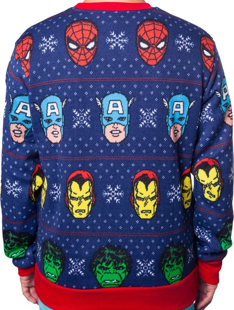 Avengers Sublimated Faux Christmas Sweater Rear