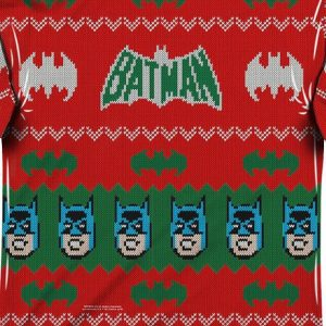 Batman Sublimated Ugly Faux Christmas Sweater Long Sleeve Tee