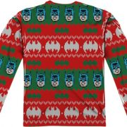 Batman Christmas Sweater.Batman Sublimated Ugly Faux Christmas Sweater Long Sleeve Tee