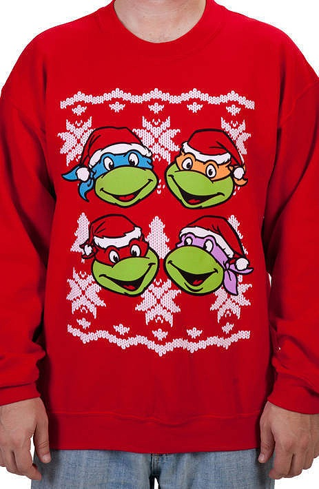 Ninja Turtle Faces Faux Christmas Sweater