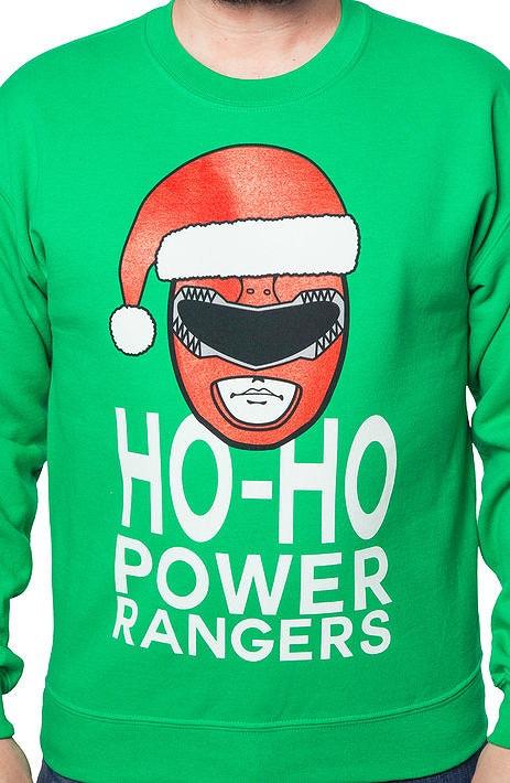 Ho Ho Power Rangers Christmas Faux Ugly Sweater