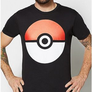 Large Poke Ball Black T Shirt
