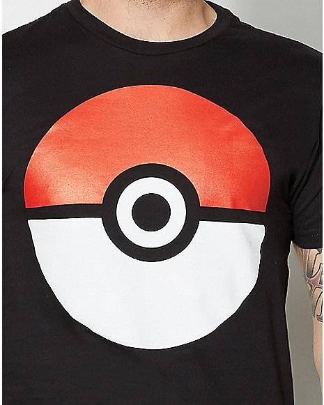Large Poke Ball Black T Shirt Zoom