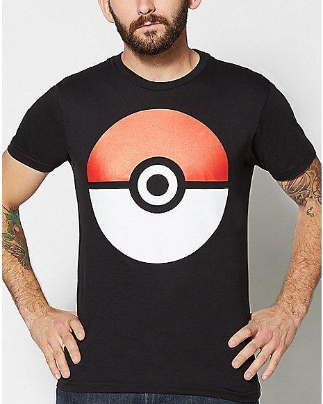 Large Poke Ball Black T Shirt