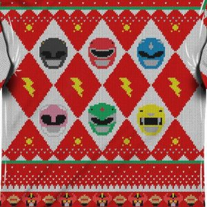 Power Rangers Sublimated Ugly Faux Christmas Sweater Long Sleeve Tee