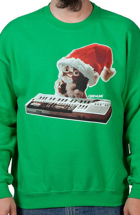 Santa Hat Gizmo Gremlins Faux Ugly Christmas Sweater Popcult Wear