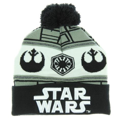 dfe86a10f88 Star Wars 7 Embossed Logo Cuff Knit Pom Beanie - PopCult Wear