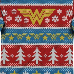 Wonder Woman Sublimated Ugly Faux Christmas Sweater Long Sleeve Tee
