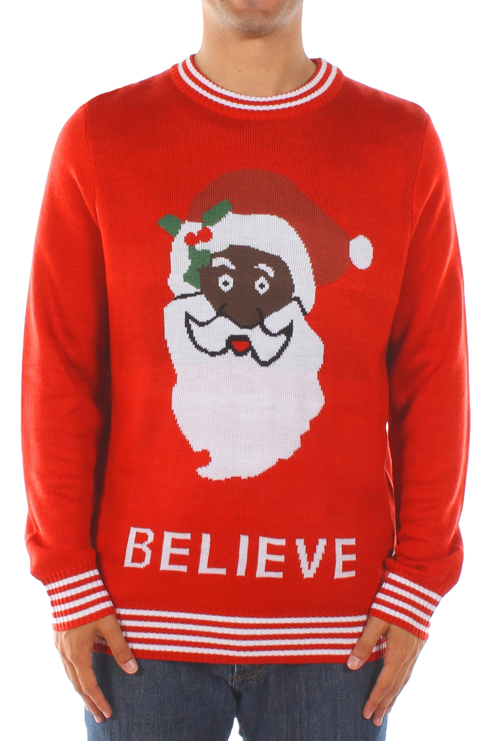 black santa believe christmas sweater