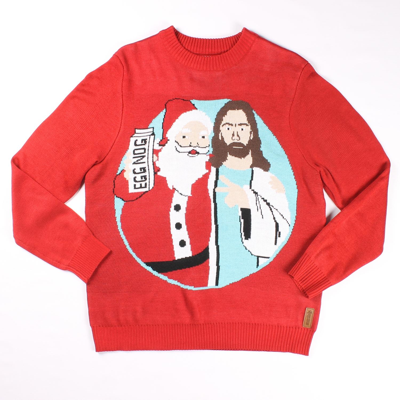 Jingle Bros Jesus and Santa Christmas Sweater