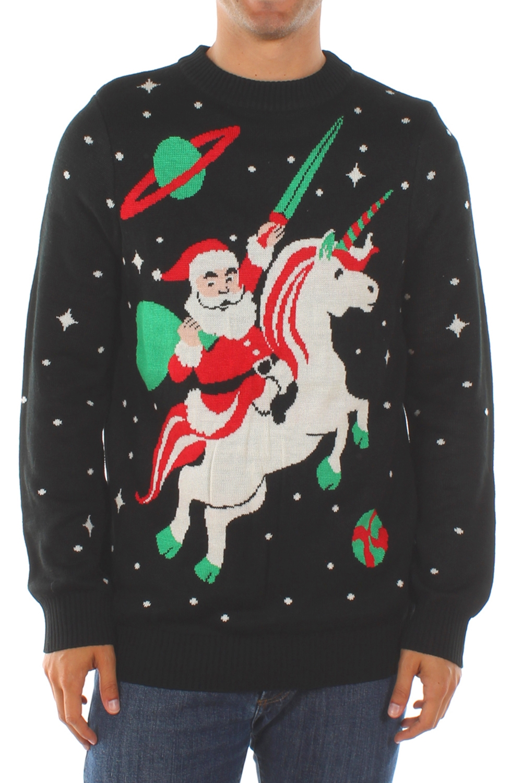Santa Riding Unicorn in Space Christmas Sweater - PopCult Wear