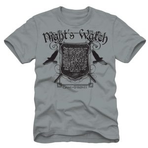 Game of Thrones Night Watchers Oath Adult Light Gray T Shirt