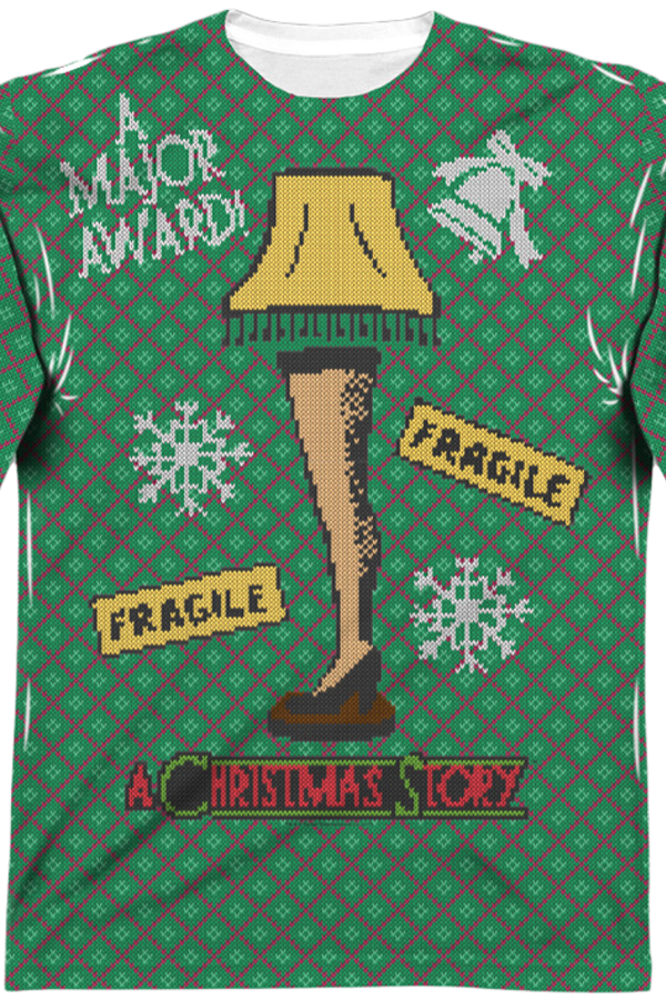 Leg-Lamp-Faux-Ugly-Sweater-Christmas-Story-Long-Sleeve-Tee