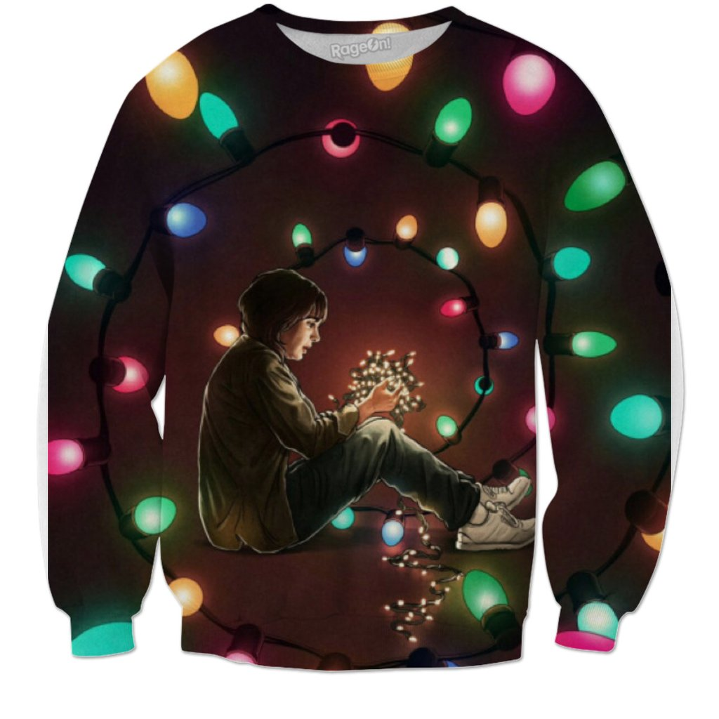 Stranger Things Joyce Christmas Lights Spiral Sweatshirt
