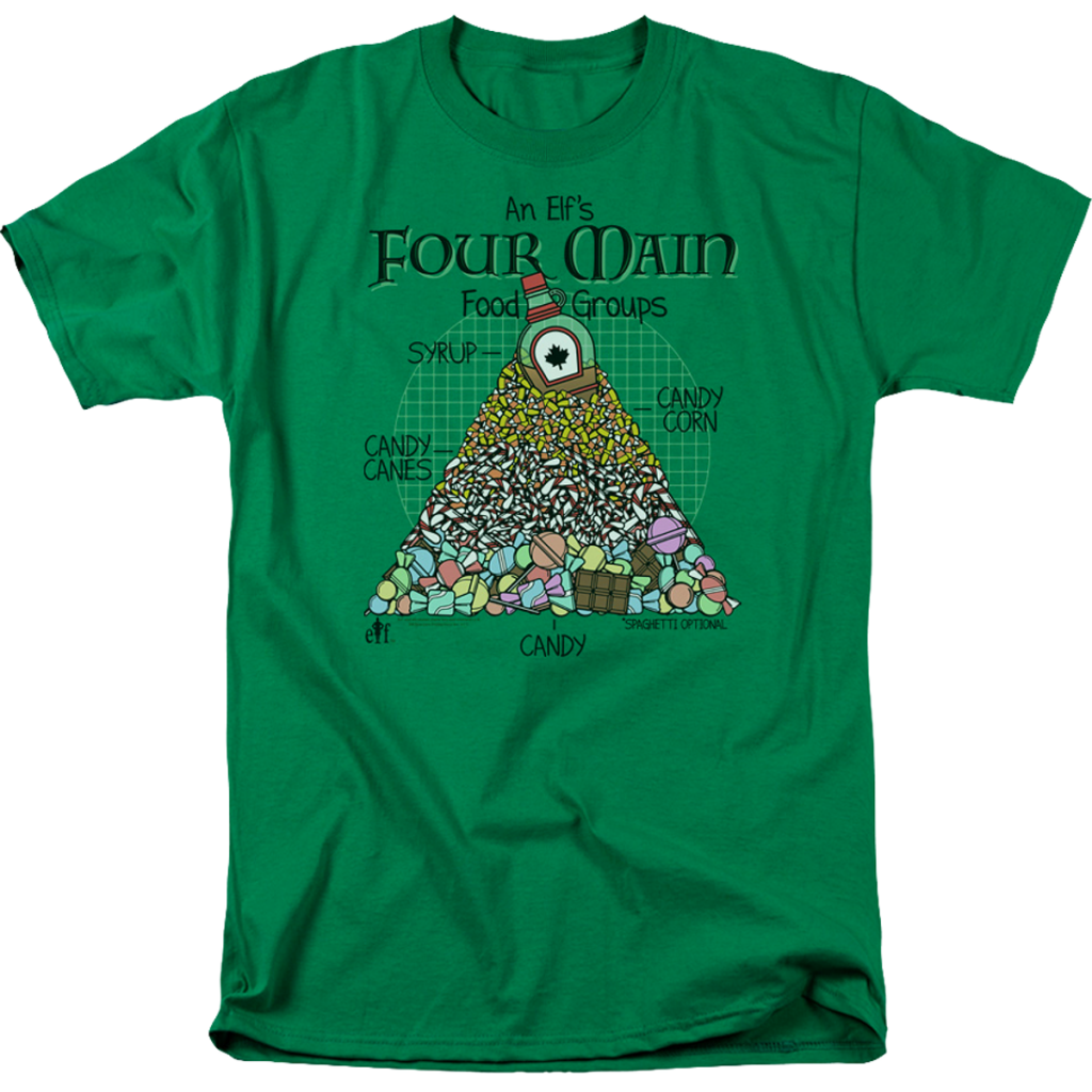An Elfs Four Main Food Groups Christmas Elf T Shirt