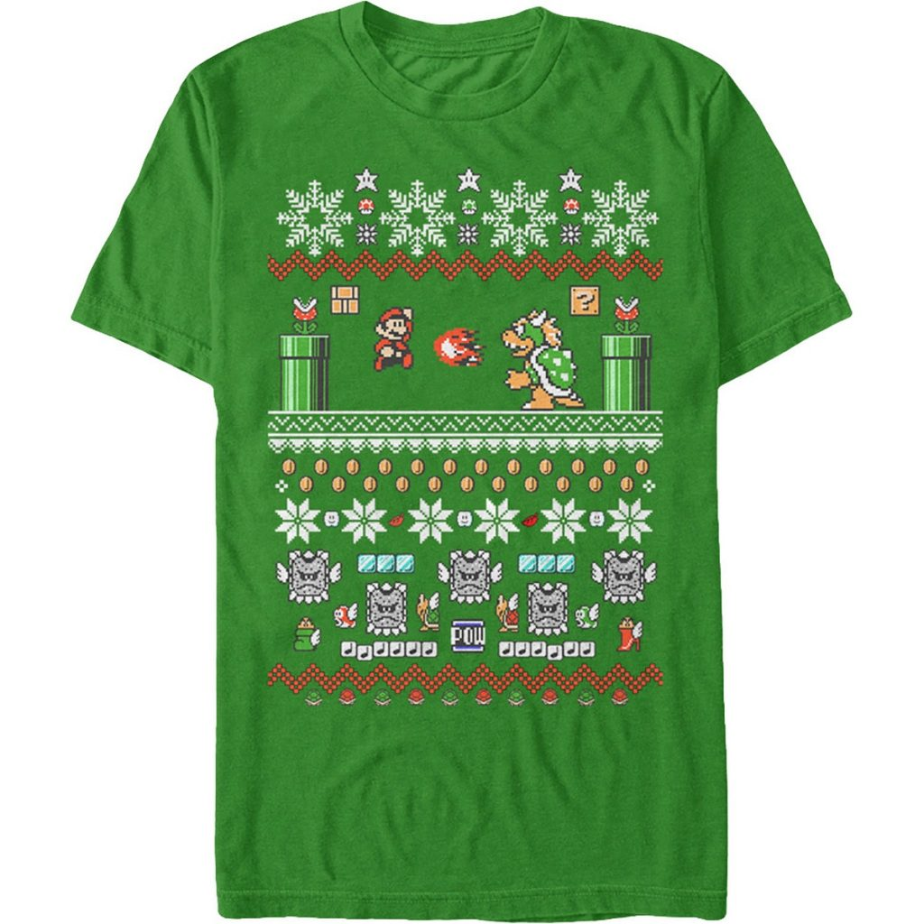 Nintendo Super Mario Fighting Bowser Christmas T Shirt
