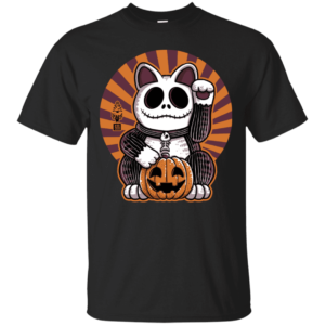 Halloween Maneki Neko Lucky Cat T Shirt