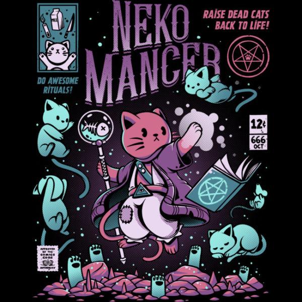 Neko Mancer Comic Book Maneki Neko Cat T Shirt Zoom